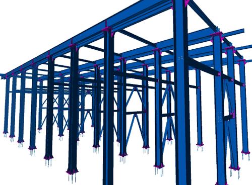 Рис. 1 Фрагмент металлической конструкции промышленного сооружения, смоделированный в HyperSteel