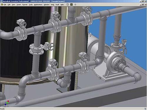 По окончании прокладки трубопроводов проект можно спокойно передавать для дальнейшей проработки специалистам, использующим базовый Autodesk Inventor: они получат полностью сформированную модель изделия и трубопроводов со всей арматурой и связями