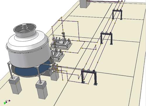 В итоге формируется каркасная модель прокладываемой системы трубопроводов. По этому каркасу запускается генерация реального трубопровода в соответствии с выбранным стилем