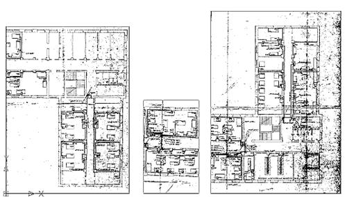 Рис. 3. Растровые изображения поэтажного плана, полученные при сканировании с «синьки» (сканер Umax PowerLook 2100XL)