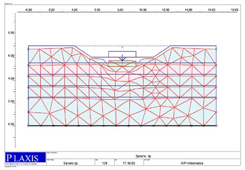 Рис. 4. Деформированная схема основания для варианта с понижением УГВ на один метр - с учетом выщелачивания гипса из грунта