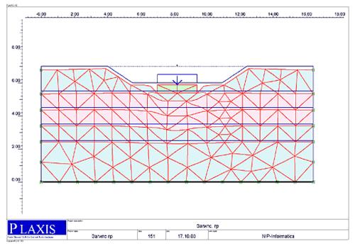 Рис. 6. Деформированная схема основания - для варианта понижения грунтовых вод на два метра