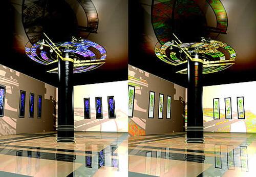 Варианты визуализации витражной колонны.Autodesk Architectural Desktop 2004 + VIZ Render