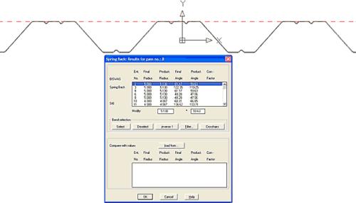 Встроенные расчеты обратного пружинения материала позволят рассчитать реально получаемые углы и радиусы готовой продукции при их исходных теоретических значениях в профиле