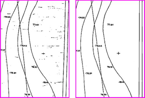 Рис. 1. Фрагмент растрового изображения до и после чистки
