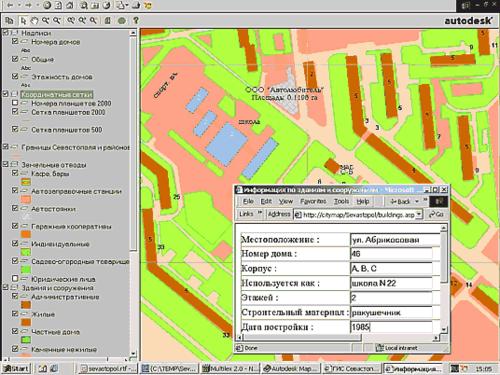 База данных по зданиям и сооружениям города