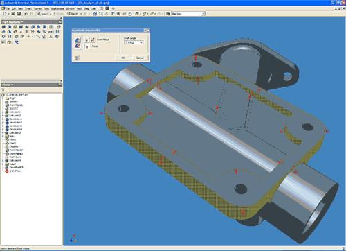 Inventor автоматически определяет направление уклона внутренней и наружной стенки по отношению к одной базовой плоскости, что значительно упрощает создание и корпусных деталей, и деталей литейной оснастки
