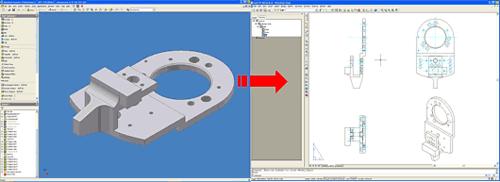 После установления связи с файлом Inventor все изменения трехмерной модели автоматически отслеживаются в AutoCAD