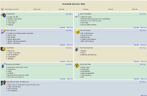 Справочная система Autodesk Inventor представляет собой настоящую электронную книгу с описанием всех возможностей системы, интерактивными вставками, ссылками на Internet-ресурсы и различные учебники