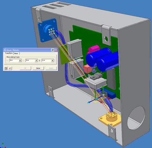 Прототип будущего жгута - это адаптивная деталь, которая автоматически изменяется при перемещении геометрии, с которой она связывалась при прокладке