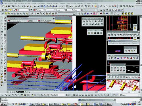 Рис. 9. Совместная работа модулей PLANT-4D Трубопроводы и PLANT-4D Оборудование и металлоконструкции
