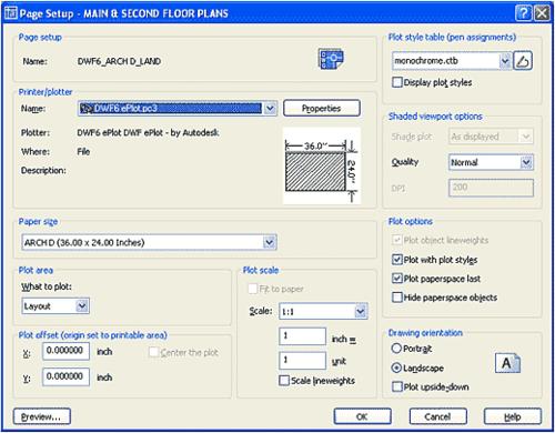 Быстрый выбор шаблона параметров листа позволяет мгновенно переключиться на другой тип бумаги, устройство печати или даже вывести комплект в виде многостраничного DWF-файла