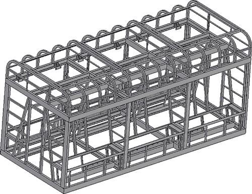 Рис. 2. Сборочная модель каркаса корпуса охлаждающего устройства