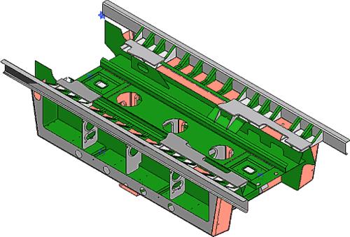 Рис. 3. Сборочная модель средней секции рамы кузова