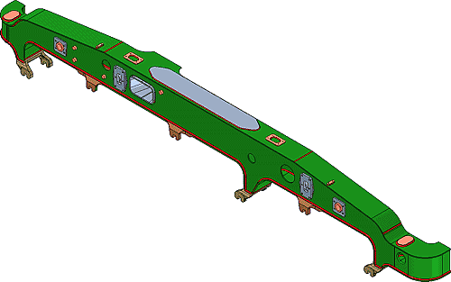 Рис. 8. Сборочная модель боковины (бокового фрагмента рамы тележки)