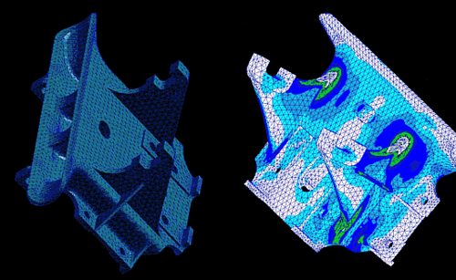 Рис. 14. Конечно-элементное представление модели уже знакомого нам кронштейна; Рис. 15. Поле эквивалентных напряжений: результаты прочностного анализа кронштейна