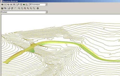 Рис. 7. Визуализация поверхностей в Autodesk Land Desktop: горизонтали и 3D-грани