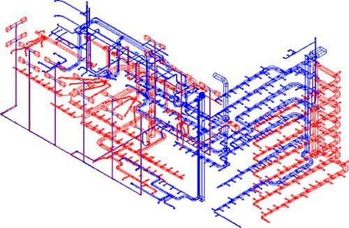 Рис. 1. Коммуникации торгового комплекса в изометрии. Оборудование венткамер не показано; потолочные диффузоры и гибкие воздуховоды показаны частично