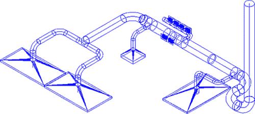 Рис. 5. Фрагмент системы местных отсосов от технологического оборудования горячего цеха кухни ресторана
