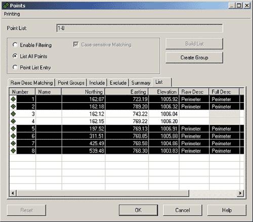 Рис. 1. Выбор точек из базы данных проекта для включения в таблицу
