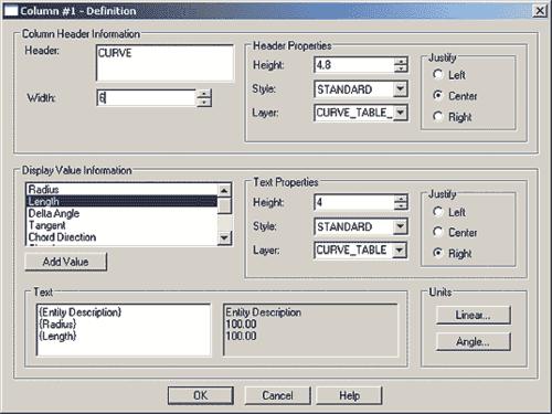 Рис. 3. Настройка параметров для столбца таблицы кривых
