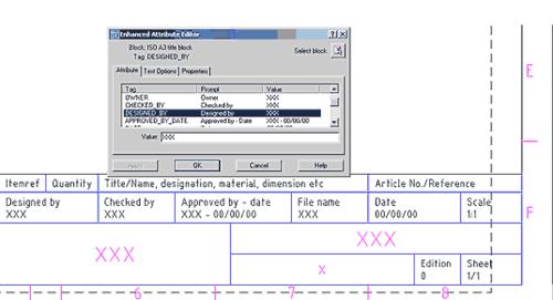 Рис. 41. Стандартная процедура ввода значений атрибутов титульного блока