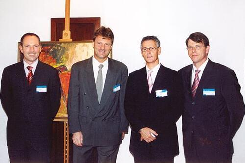 Слева направо: Рудольф Данцер (Rudolf Danzer), директор по продажам в развивающихся странах Autodesk EMEA; Карстен Поп (Karsten Popp), вице-президент компании в регионе EMEA; Клод Хелф (Claude Helf), директор по ведению бизнеса компании Autodesk EMEA; Жан-Поль Сюрен (Jean-Paul Seuren), менеджер по продажам в России
