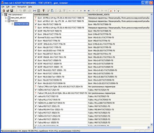Рис 5. Пользовательский интерфейс приложения Анализатор/валидатор стандартных наименований