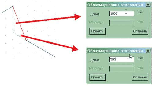 Рис. 13. Можно задать значения отклонений по отдельности (по проекциям)