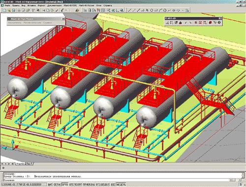 Рис. 9. Пример использования комплексной автоматизации совместно с программным комплексом PLANT-4D (красным цветом отображены площадки под трубопроводы, запроектированные в системе REAL Steel)