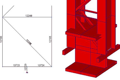 Рис. 7. Фрагмент расчетной модели колонны для получения нагрузок на фундаменты