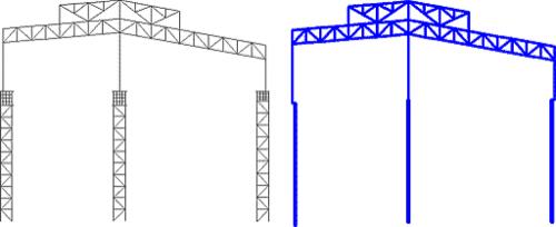 Рис. 8. Две модели для расчета колонн. Модель №1 (слева) представлена в этой статье; модель №2 - классическая