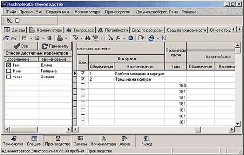 Рис. 4. Результаты измерений параметров при изготовлении детали «Контакт»