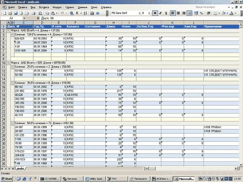 Рис. 4. Пример экспорта отчета с экспресс-анализом в MS Excel