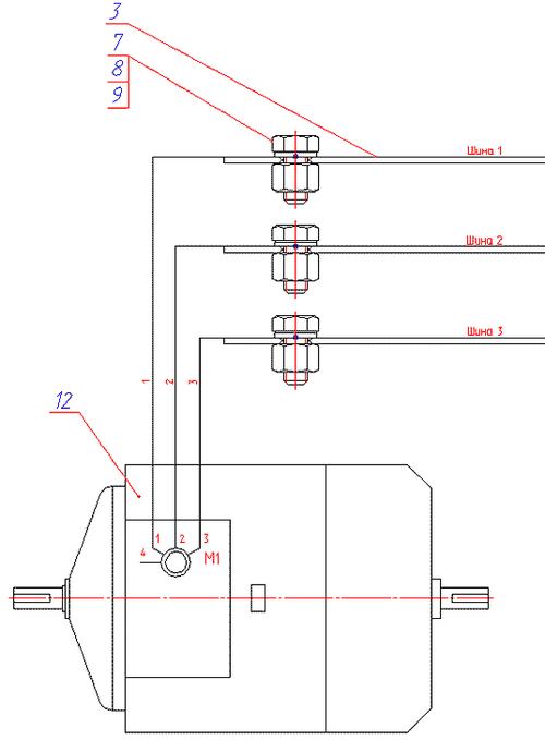Рис. 5. Пример электромеханического чертежа, выполненного совместно с принципиальной схемой