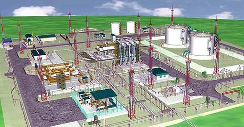 Цифровая модель ДНС Усть-Балыкского месторождения с трехмерной проработкой рельефа, оборудования на технологических площадках, инженерных сетей, компоновки цехов и блоков