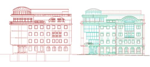 Рис. 12. Слева - проекция, справа - проекция, уже оформленная в чертеж
