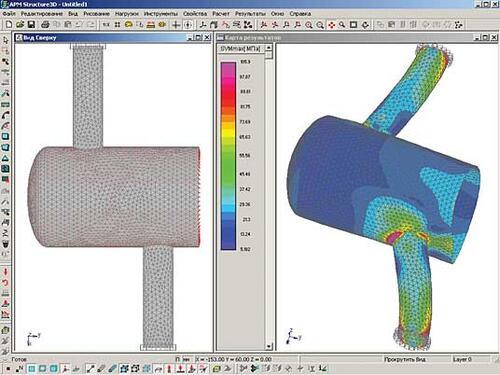 Рис. 3. Результаты расчета напряженно-деформированного состояния оболочечной модели участка трубопровода высокого давления