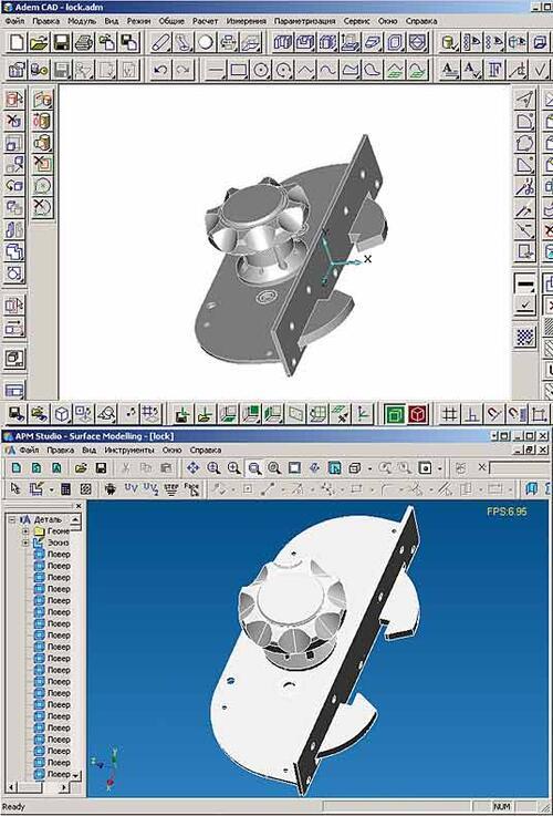Рис. 4. Передача с использованием формата STEP трехмерной модели из AdemCAD в модуль пространственного проектирования APM Studio