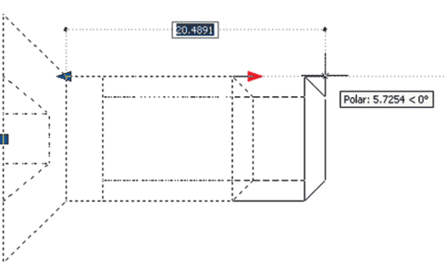 Рис. 6. Растяжение блока посредством активного параметра (настройка длины крепежного элемента)