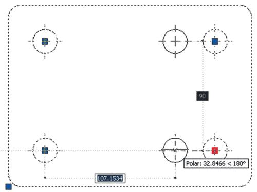 Рис. 10. Изменение взаимного положения частей блока посредством активного параметра (настройка взаимного расположения отверстий на плате)