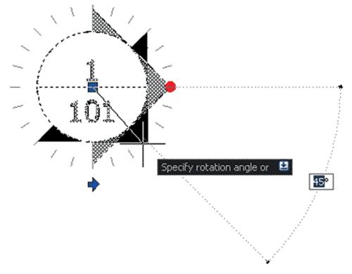 Рис. 12. Изменение угла поворота частей блока посредством активного параметра (поворот стрелки указателя вида по сетке углов)