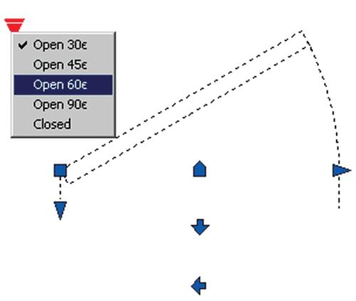 Рис. 19. Выбор реализации блока двери путем подбора угла открытия при помощи активного параметра Visibility