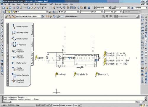 Рис. 29. Общий вид интерфейса редактора блоков с открытым для редактирования динамическим блоком крепежного болта