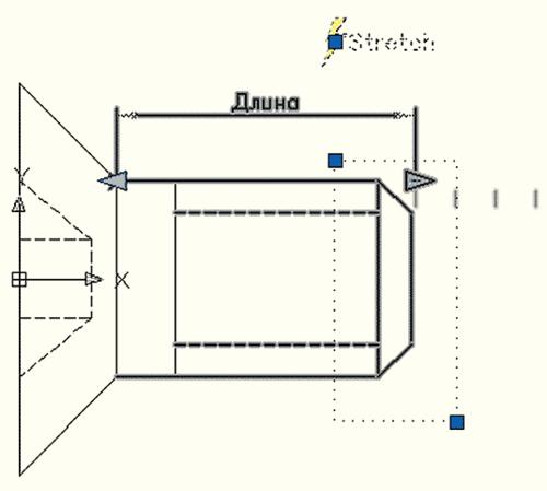 Рис. 34. Действие Stretch выделено в окне Редактора блоков. Видна рамка выделения, назначенная для растягиваемых объектов