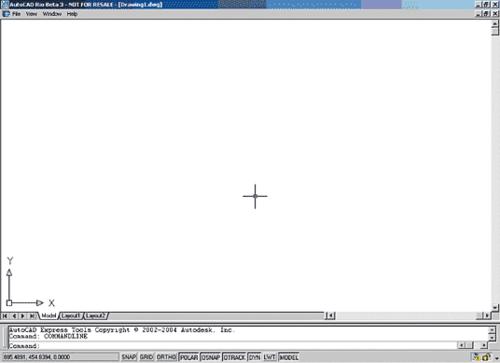 Рис. 42. Интерфейс AutoCAD при незагруженном файле acad.cui
