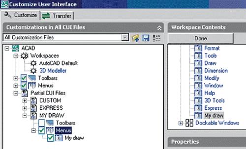 Рис. 46. Добавление пунктов меню из частичного CUI-файла путем добавления их к элементам рабочего стола (создан дополнительный рабочий стол 3D Modeller)