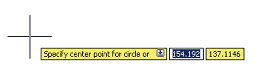 Рис. 3. Так выглядит динамическое сообщение при построении круга. Обратите внимание, что координаты задаются непосредственно в строке подсказки на экране