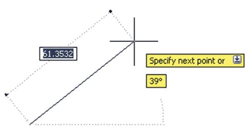 Рис. 5. Вид сообщений и подсказок зависит от типа строящегося объекта. Например, при построении отрезков выводится информация об угле наклона