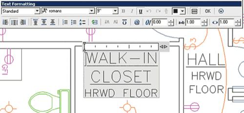 Рис. 24. Полупрозрачный фон выделяет редактируемый текст среди остальных объектов чертежа